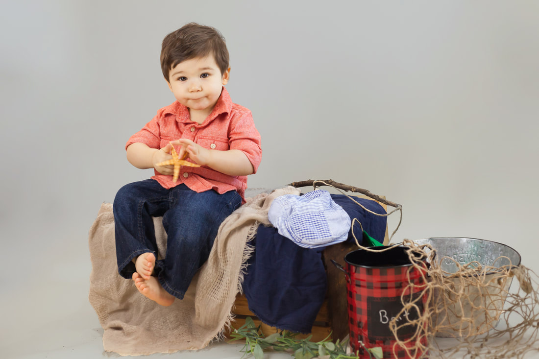One year old boy in fishing themed photoshoot in Floral City FL