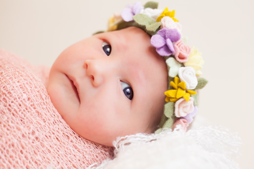 Close up of newborn baby looking into camera wearing pastel flower headband. On a white background